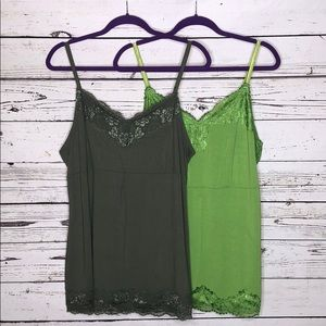 Lot of 2 Lane Bryant 18/20W Shades of Green Cami